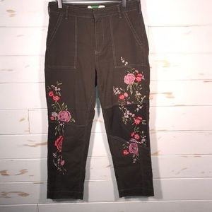 Anthropologie floral embroidered cropped pants